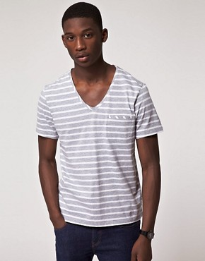 Image 1 ofJ Lindeberg Fabian V Neck Stripe T-Shirt