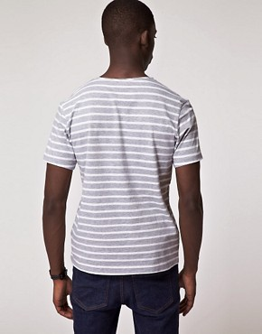 Image 2 ofJ Lindeberg Fabian V Neck Stripe T-Shirt