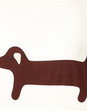Image 3 ofAime by People Tree Organic Jersey Sausage Dog Long Sleeve T Shirt
