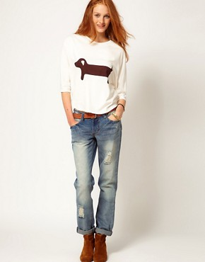 Image 4 ofAime by People Tree Organic Jersey Sausage Dog Long Sleeve T Shirt
