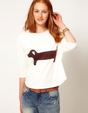 Image 1 ofAime by People Tree Organic Jersey Sausage Dog Long Sleeve T Shirt