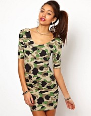 Motel Jolene Mini Dress In Camo Print