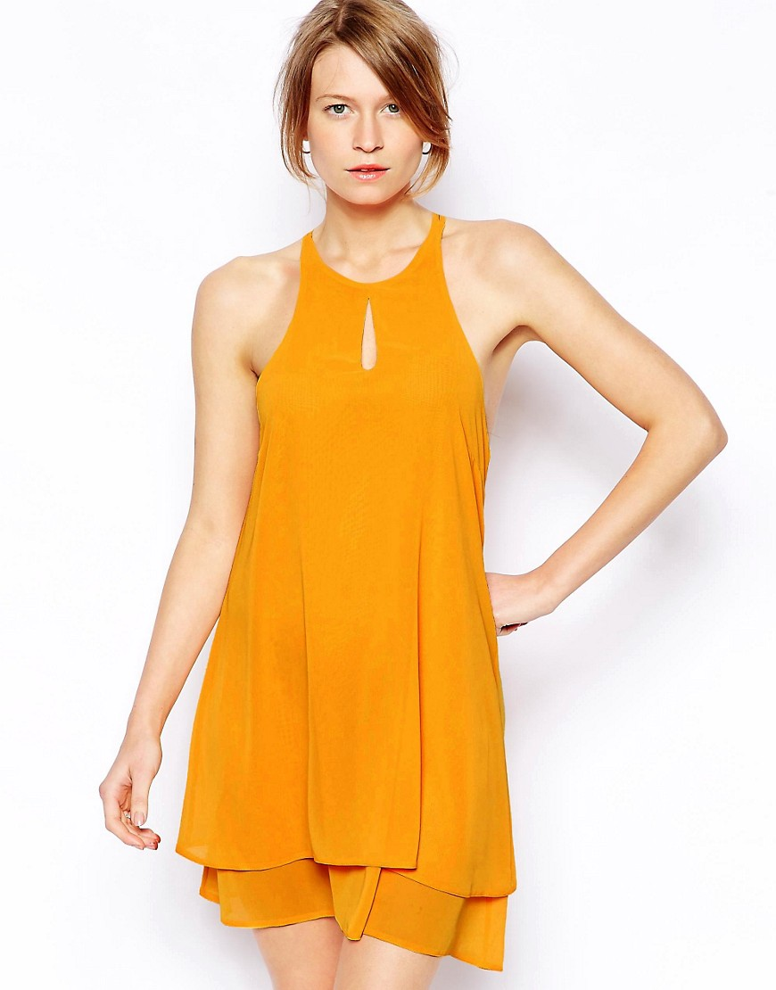 Love Cami Swing Dress with Keyhole - Orange