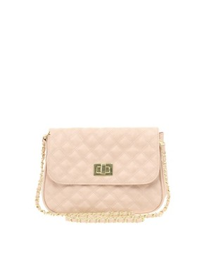 Image 1 ofASOS Nude Quilted Lock Across Body Bag