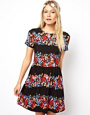 ASOS Skater Dress In Stripe Floral Print