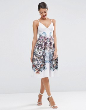 ASOS Winter Forest Floral Pinny Midi Prom Dress