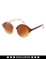 Jeepers Peepers Vintage Exclusive to Asos Half Rim Round Sunglasses
