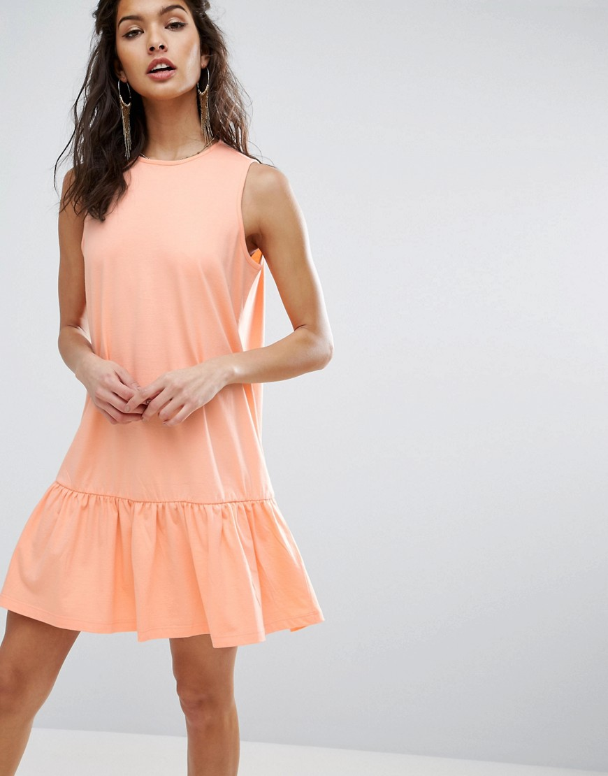 ASOS Dropped Hem Sleeveless Smock Dress - Pink