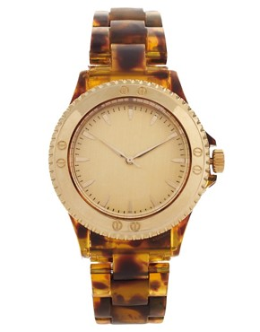 Image 1 ofASOS Brown Tortoiseshell Watch with Gold Dial Detail