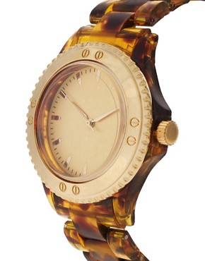 Image 2 ofASOS Brown Tortoiseshell Watch with Gold Dial Detail