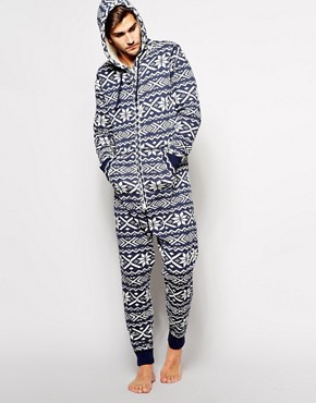 Abercrombie & Fitch Onesie in Fairisle and Sherpa Lining