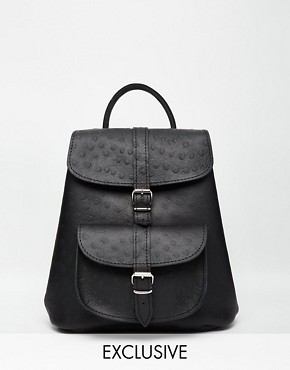 Grafea Leather Mini Backpack in Ostrich Finish