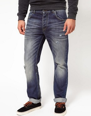 Image 1 ofASOS Straight Mid Wash Jeans
