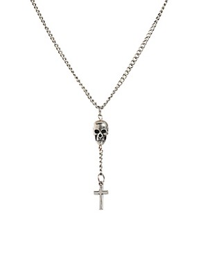 Image 1 ofASOS Skull and Cross Necklace