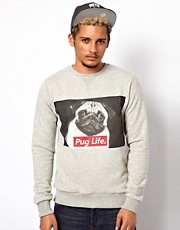 Criminal Damage Sweatshirt With Pug Life Print