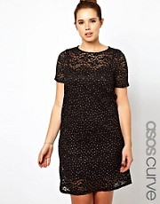 ASOS CURVE Shift Dress In Sparkle Lace