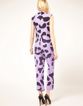 Image 2 ofHouse of Holland Drape Jumpsuit in Oversized Leopard Print Wool