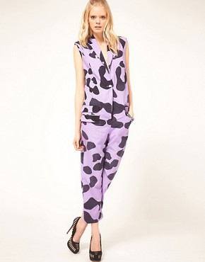 Image 4 ofHouse of Holland Drape Jumpsuit in Oversized Leopard Print Wool