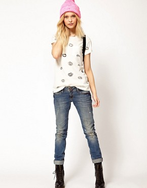 Image 4 ofRiver Island Lips T-Shirt