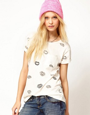 Image 1 ofRiver Island Lips T-Shirt