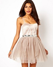 Lipsy Jewelled Waist Strapless Prom Dress