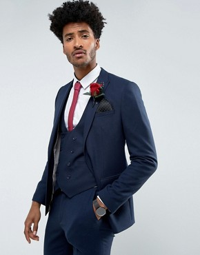 ASOS Wedding Skinny Suit Jacket in Woven Texture in Navy