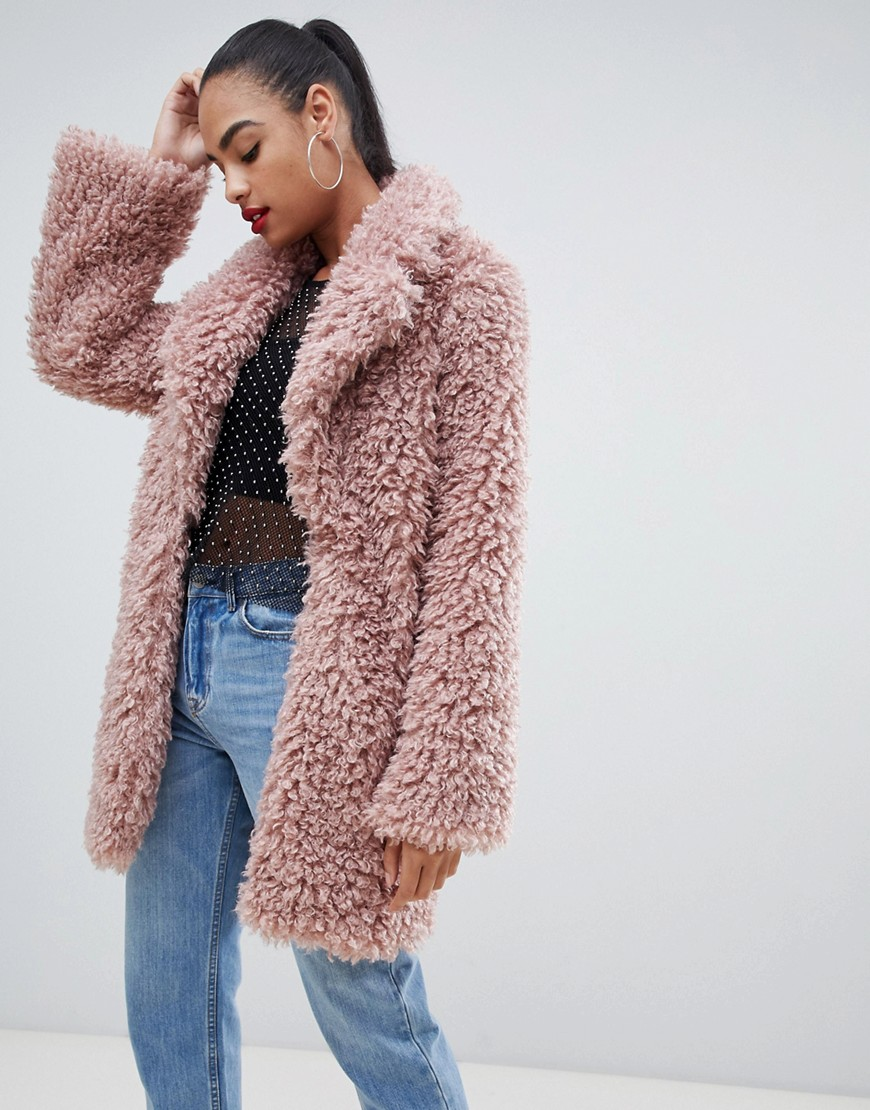 prettylittlething - Flauschiger Oversize-Teddymantel in Rosa - Rosa