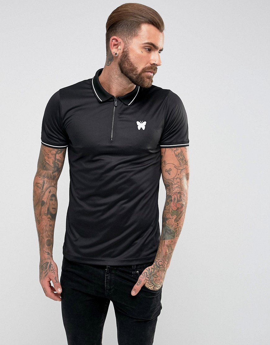 Good For Nothing Polo T-Shirt In Black With Half Zip - Black