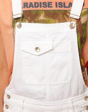 Image 3 ofASOS Denim Dungaree Shorts in White