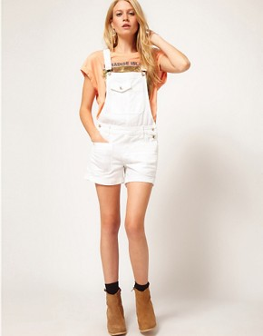 Image 4 ofASOS Denim Dungaree Shorts in White