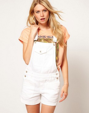 Image 1 ofASOS Denim Dungaree Shorts in White
