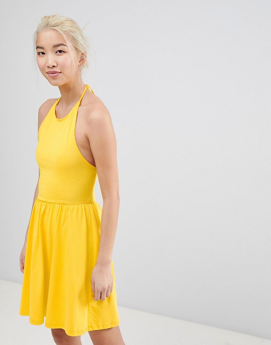 ASOS Mini Smock Sundress with Lace Up Back - Yellow