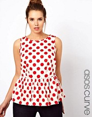 ASOS CURVE Sleeveless Top in Spot Print