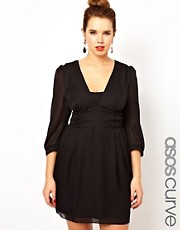 Vestido estilo tulipn con banda fruncida de ASOS CURVE