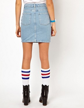 Image 2 ofAmerican Apparel High Waisted Denim Mini Skirt