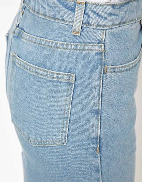Image 3 ofAmerican Apparel High Waisted Denim Mini Skirt