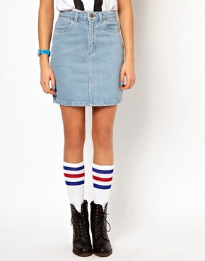 Image 4 ofAmerican Apparel High Waisted Denim Mini Skirt
