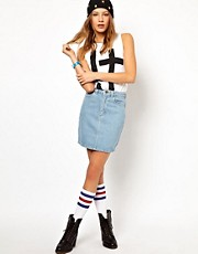 American Apparel High Waisted Denim Mini Skirt