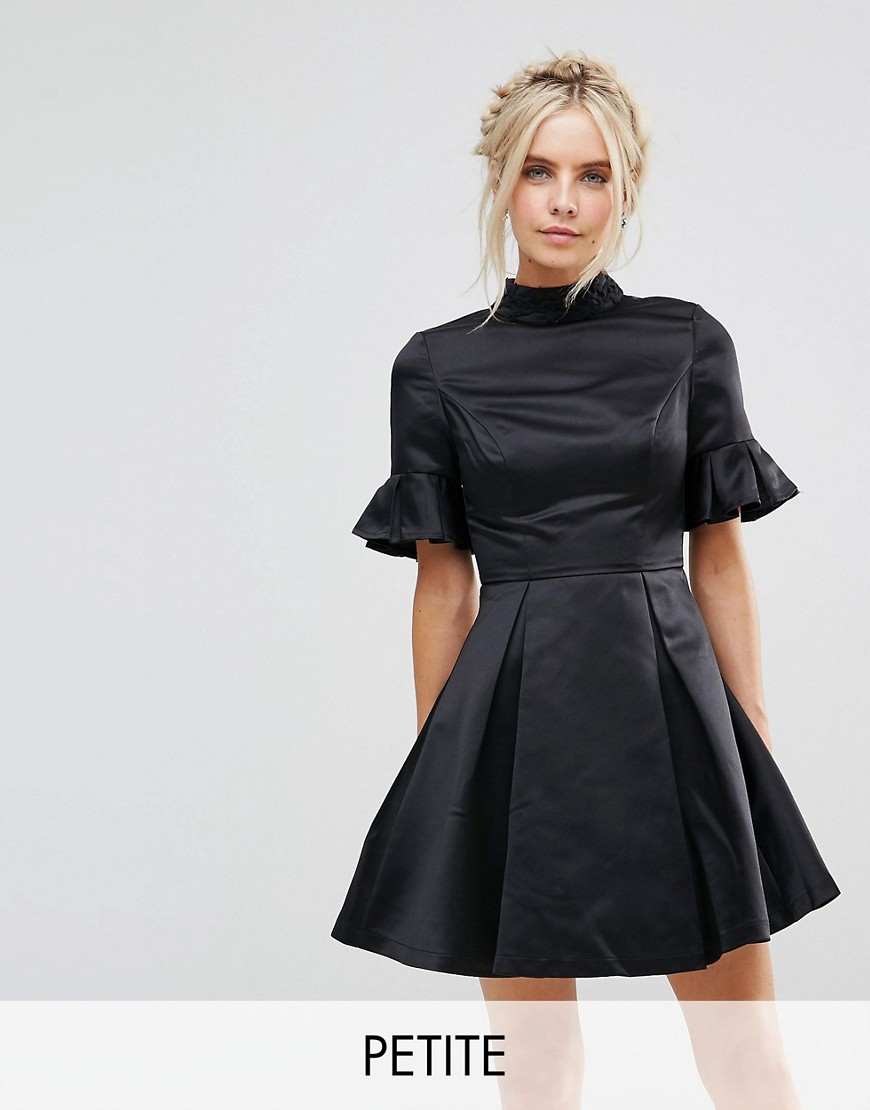 Chi Chi London Petite High Neck Mini Dress with 3/4 Sleeve and Frill Detail - Black