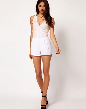 Image 4 ofASOS PETITE Exclusive Sequin Wrap Playsuit