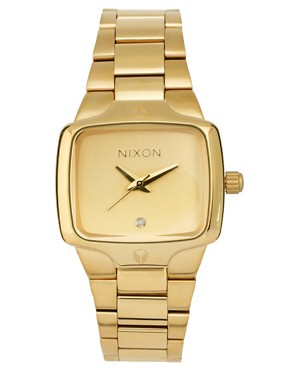 Image 1 ofNixon Gold Finish Square Face Bracelet Watch