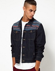 55DSL Denim Jacket Jacquard Aztec Panel