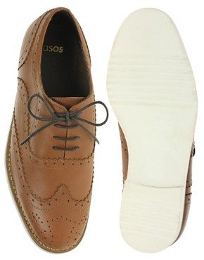 Image 3 ofASOS MARKSY Leather Brogue with Contrast Sole