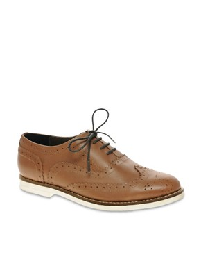 Image 1 ofASOS MARKSY Leather Brogue with Contrast Sole