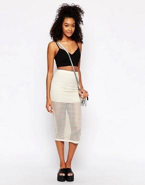 Motel Bobby Midi Skirt in Stripe Net