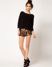 ASOS Short in Gold Jacquard