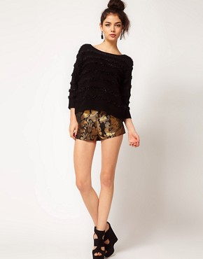 Image 1 ofASOS Short in Gold Jacquard