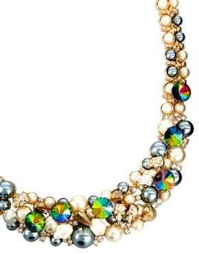 Image 4 ofASOS Premium Skull &amp; Pearl Collar Necklace
