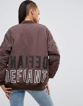 ASOS Oversized Bomber Jacket with Logo Print
