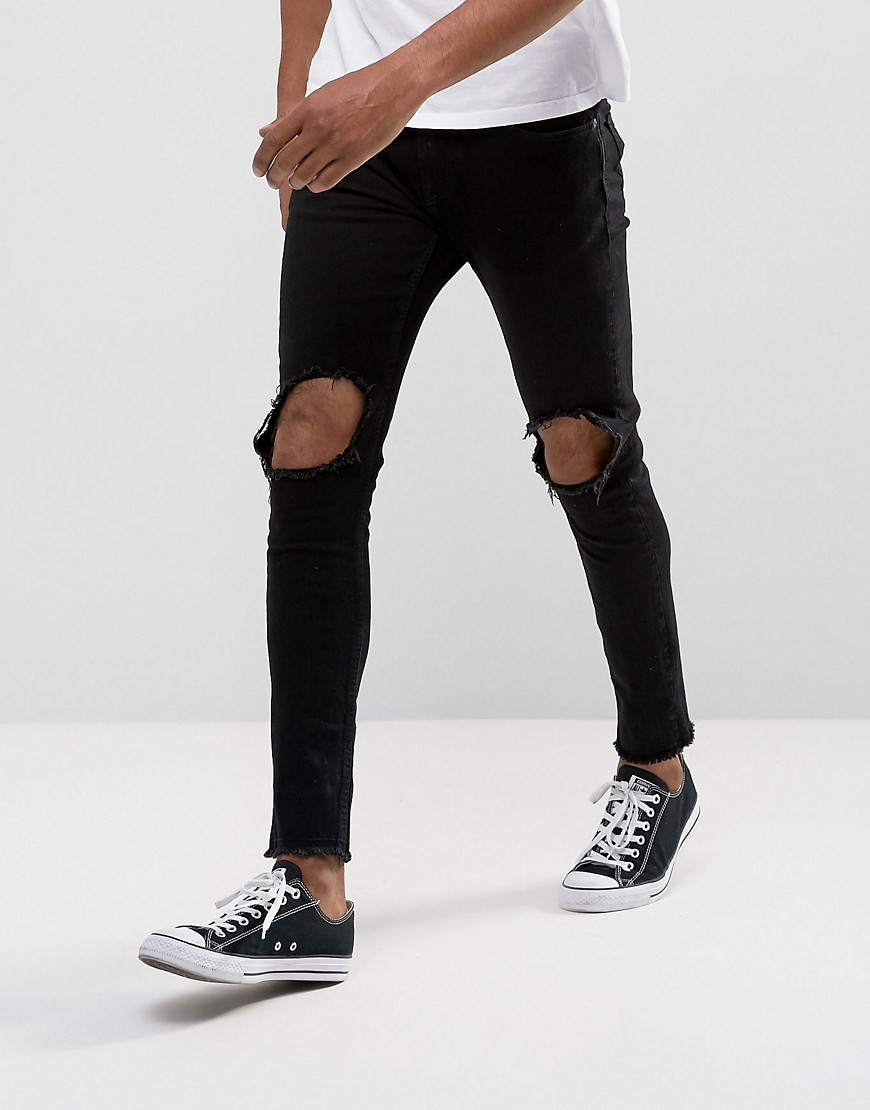 Only & Sons Jeans in Skinny Fit With Open Knees and Cut Off Hem - Black